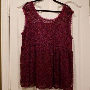 Torrid 3X merlot lace blouse NWT!
